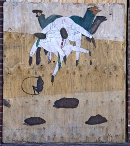 Pencil, marker, acrylic on found wood, 2008