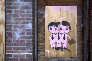 Marker, acrylic on found wood, 2008